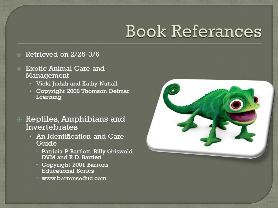 Book Referances Reptiles, Amphibians and Invertebrates