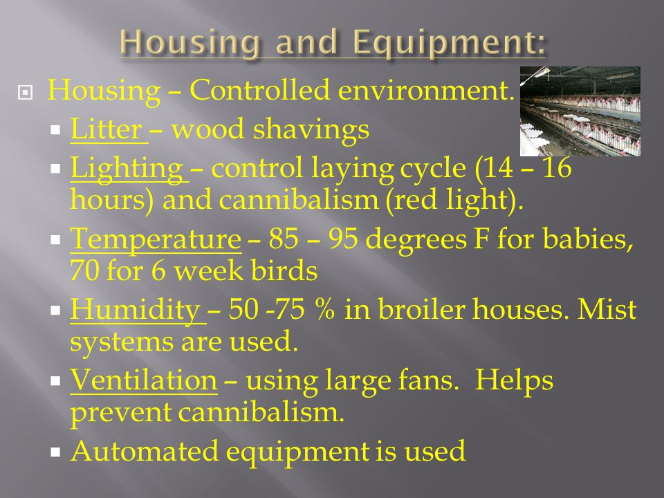 Housing and Equipment: