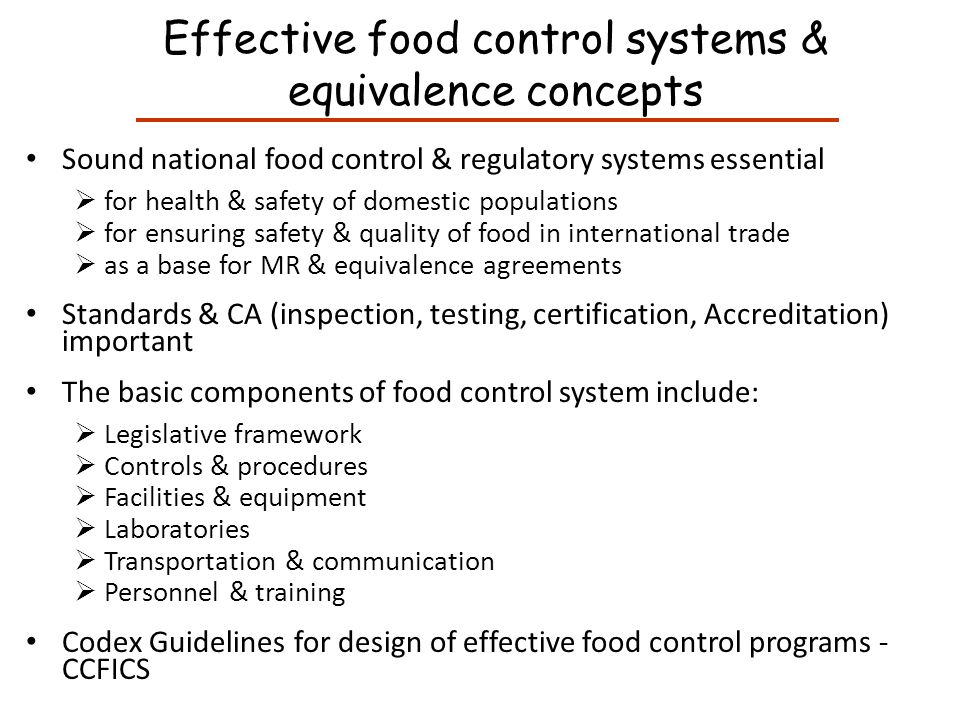 Effective food control systems & equivalence concepts