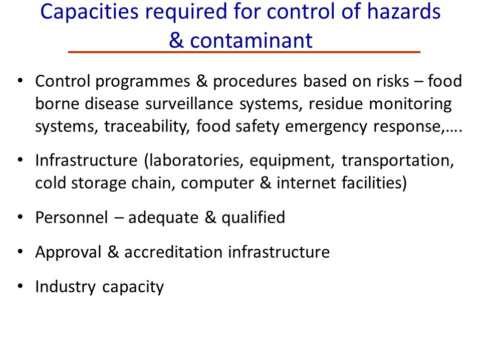 Capacities required for control of hazards & contaminant