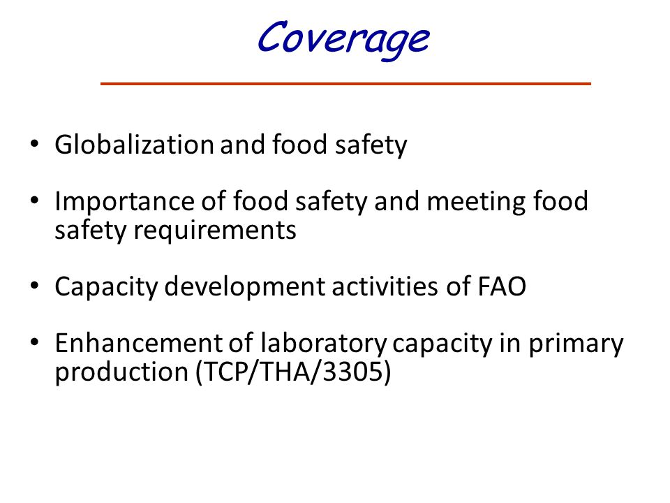 Coverage Globalization and food safety
