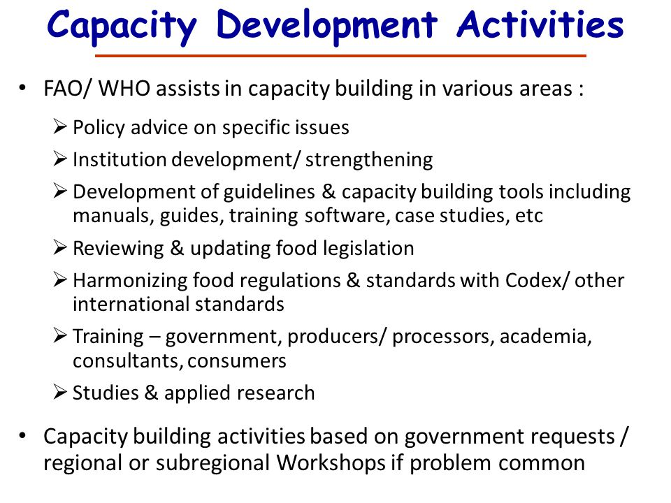 Capacity Development Activities