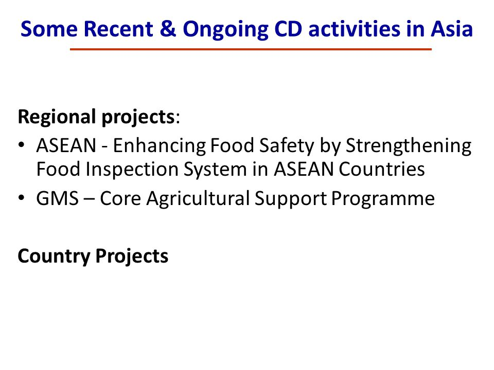 Some Recent & Ongoing CD activities in Asia