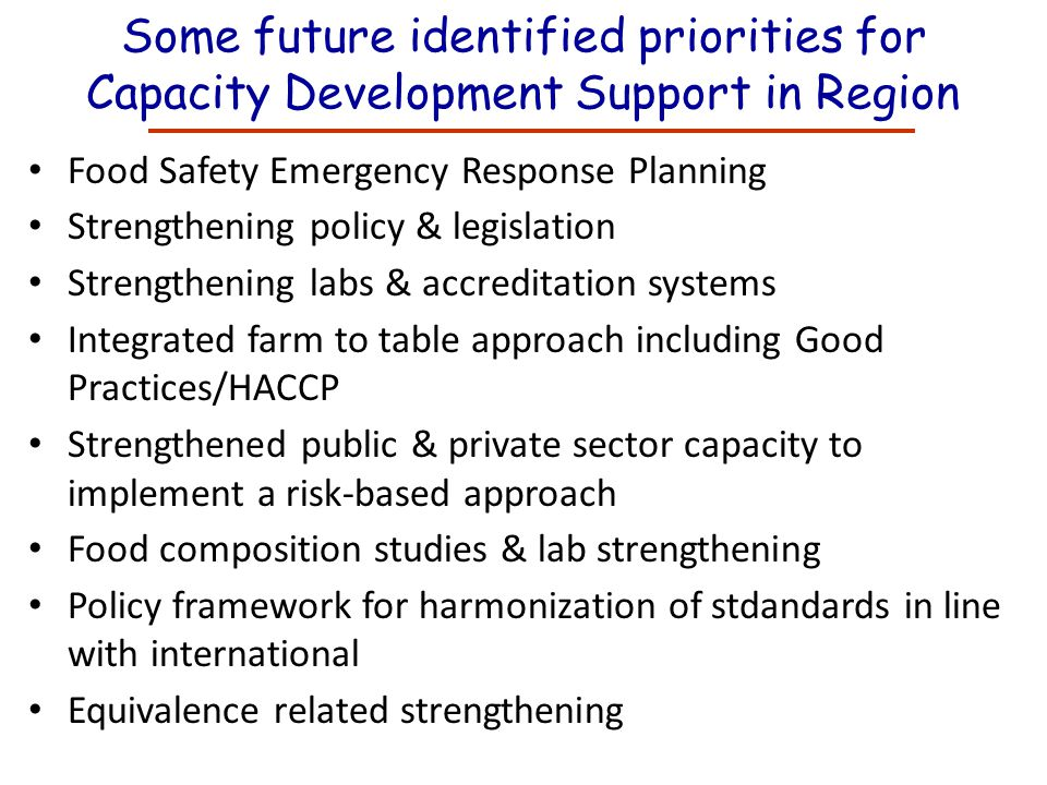 Some future identified priorities for Capacity Development Support in Region