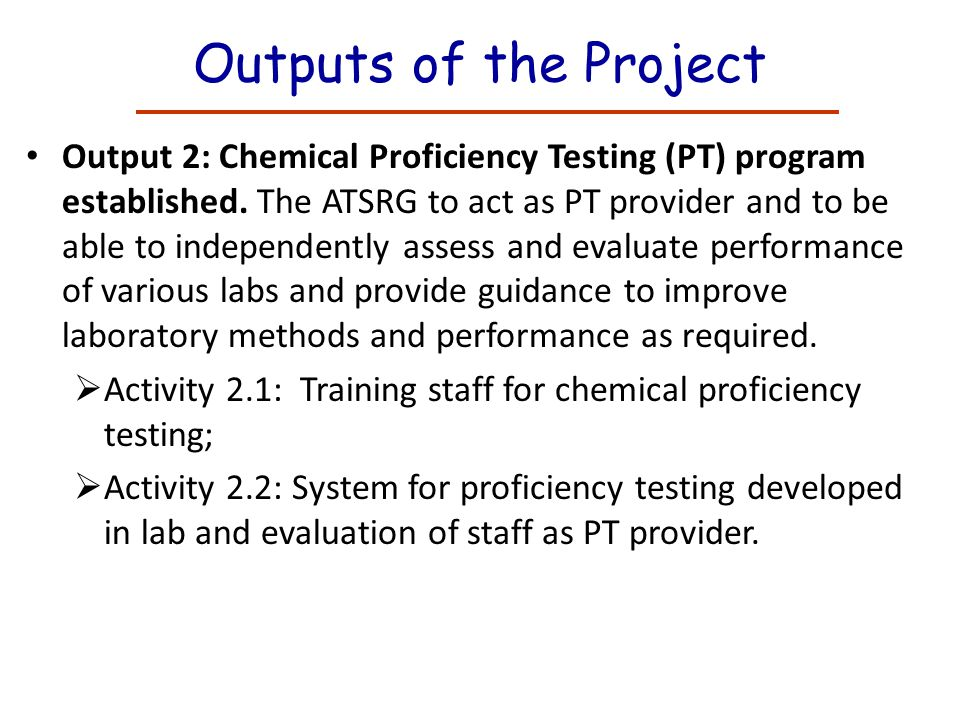 Outputs of the Project