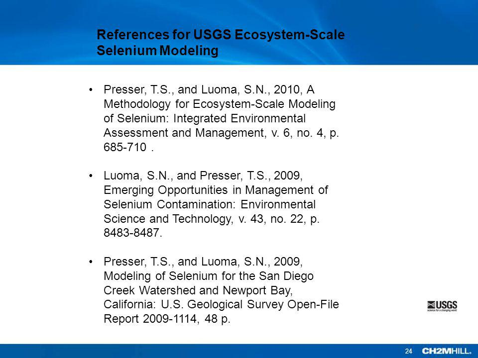 References for USGS Ecosystem-Scale Selenium Modeling