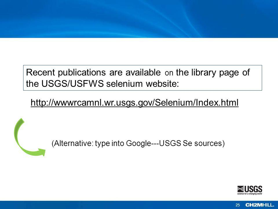 Recent publications are available on the library page of the USGS/USFWS selenium website: