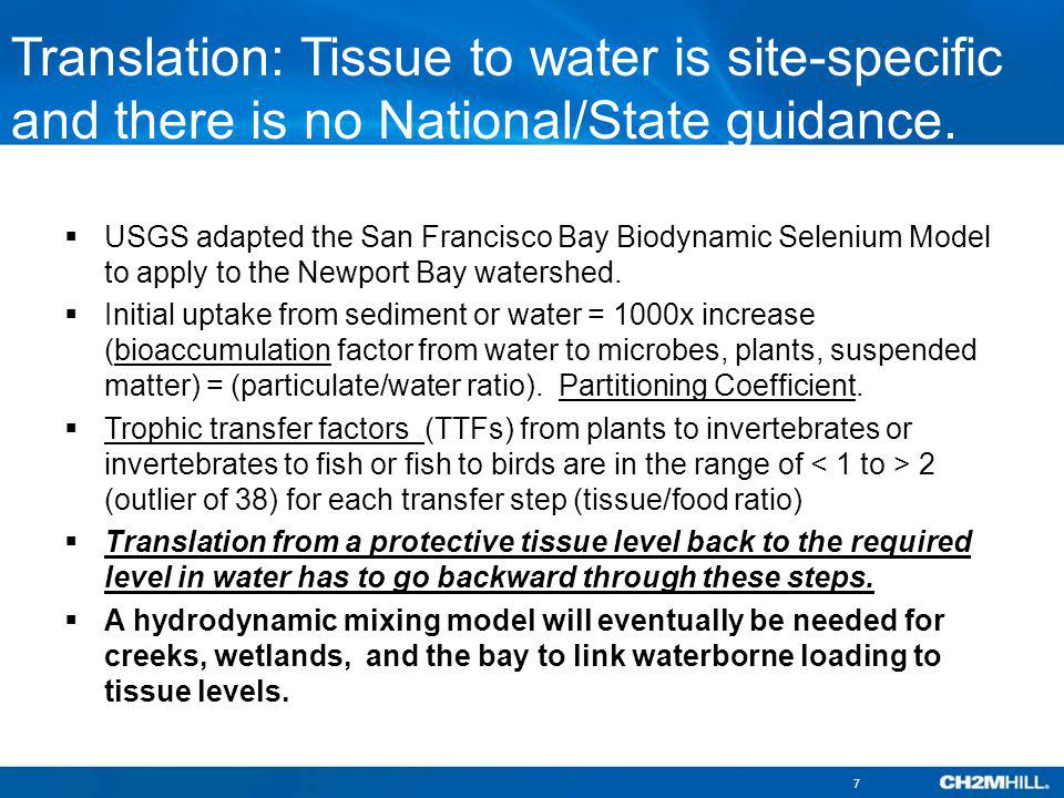 Translation: Tissue to water is site-specific and there is no National/State guidance. The need for modeling.