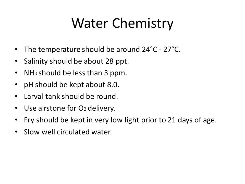 Water Chemistry The temperature should be around 24°C - 27°C.