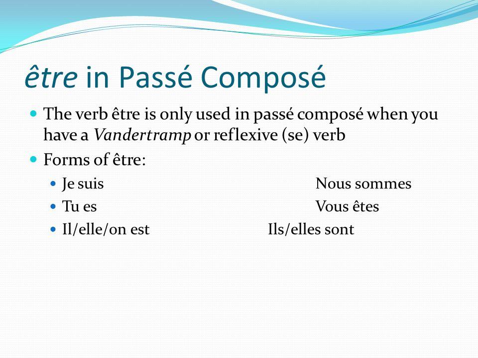 être in Passé ComposéThe verb être is only used in passé composé when you have a Vandertramp or reflexive (se) verb.