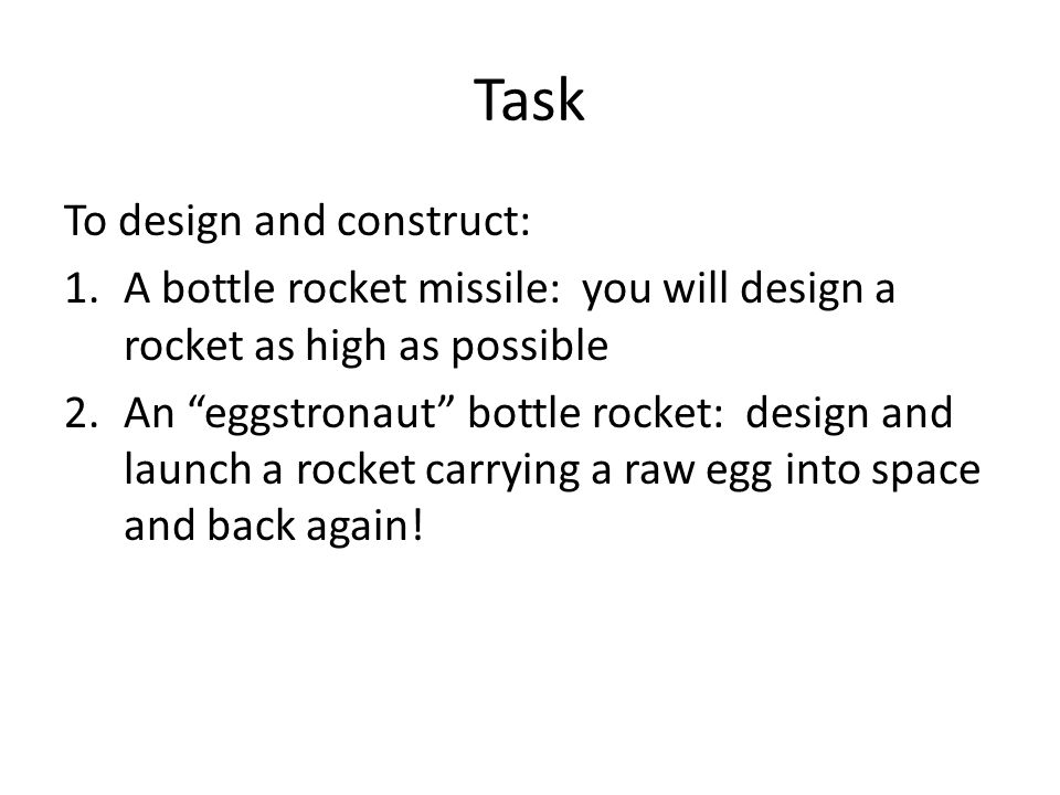 Task To design and construct: