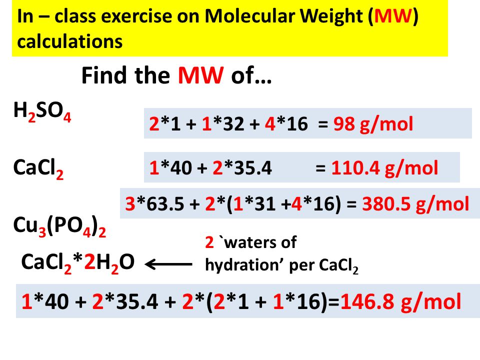 Find the MW of… H2SO4 CaCl2 Cu3(PO4)2 CaCl2*2H2O
