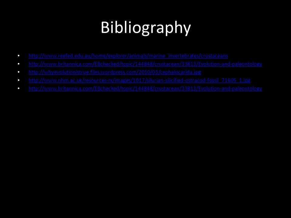 Bibliography http://www.reefed.edu.au/home/explorer/animals/marine_invertebrates/crustaceans.