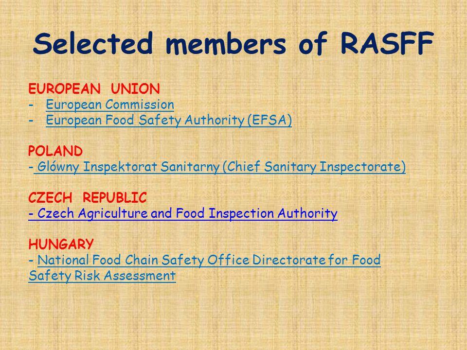 Selected members of RASFF