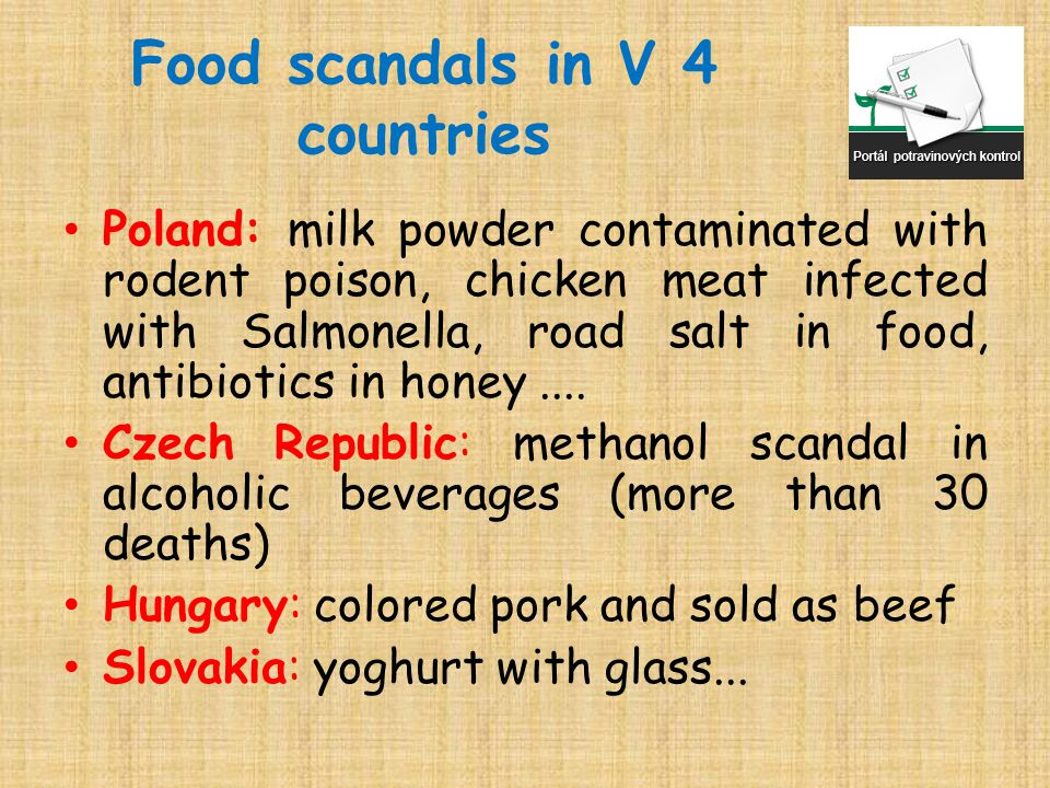 Food scandals in V 4 countries