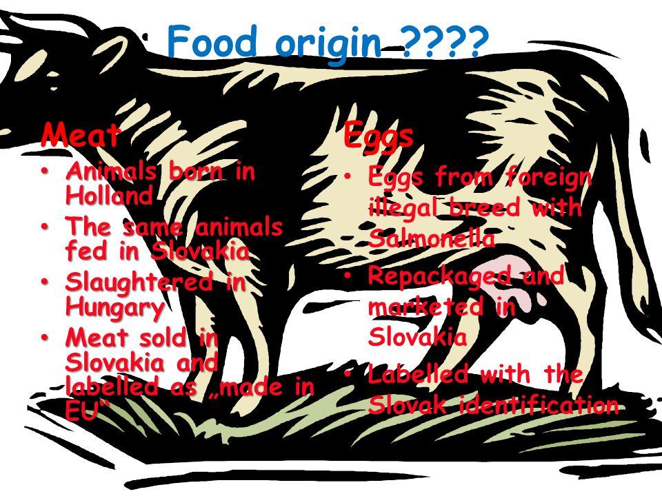 Food origin Meat Eggs Animals born in Holland