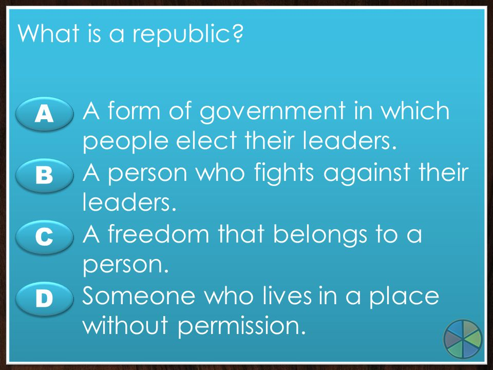 A form of government in which people elect their leaders. A