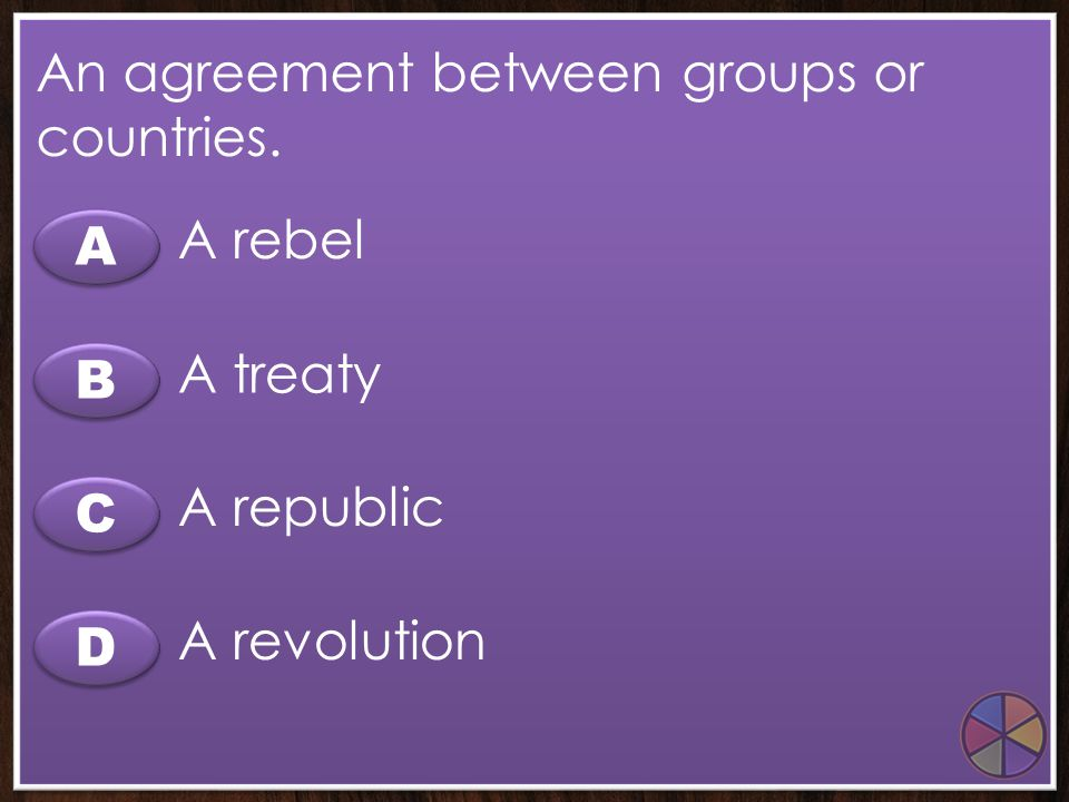 An agreement between groups or countries.