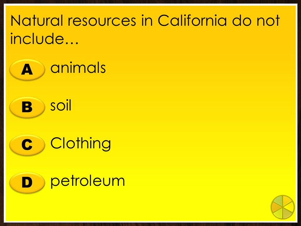 Natural resources in California do not include…