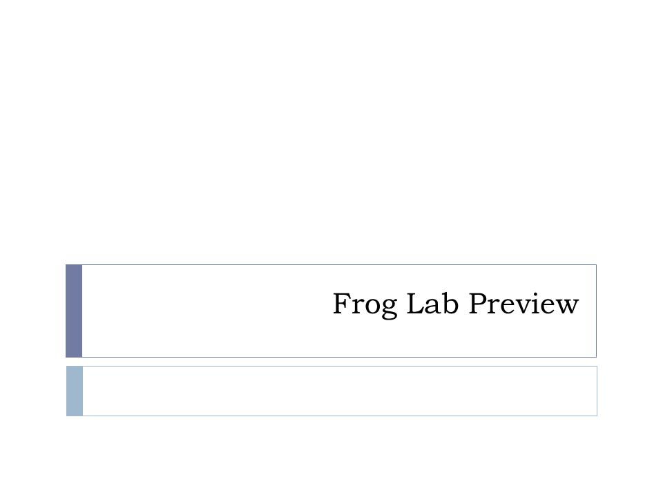 Frog Lab Preview