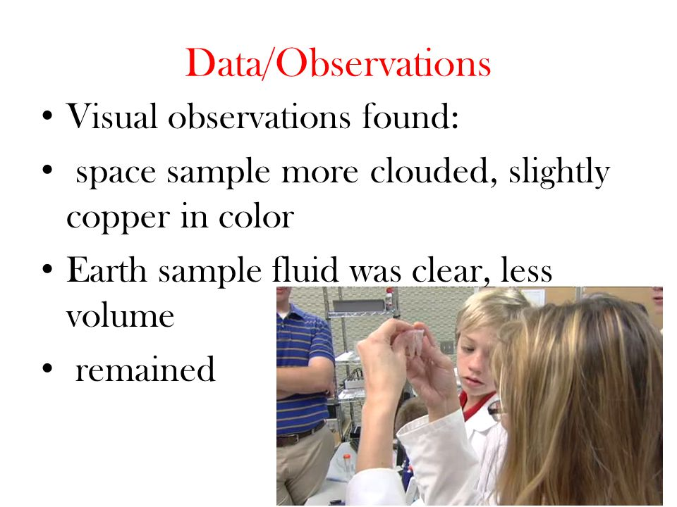 Data/Observations Visual observations found: