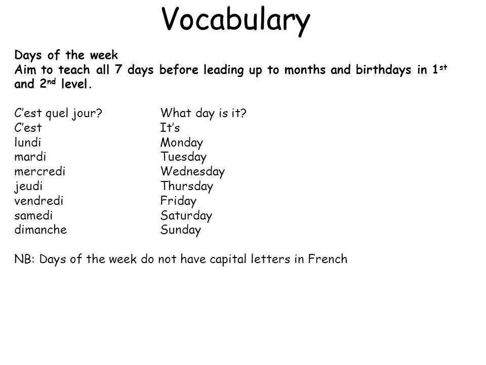 Vocabulary Days of the week