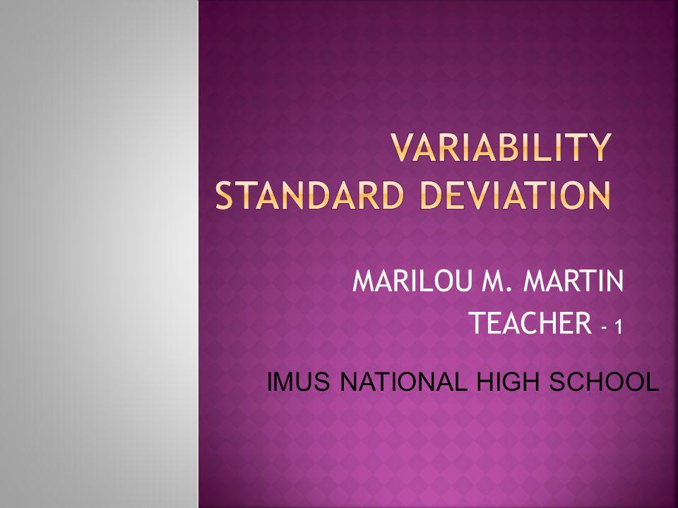 Variability Standard Deviation