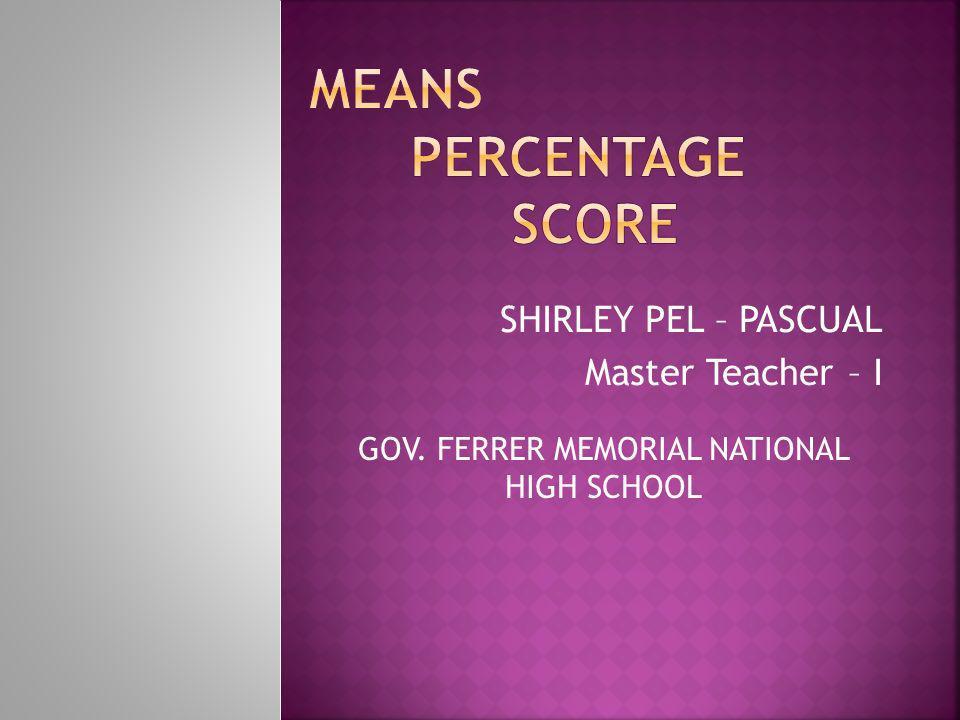 Means Percentage Score