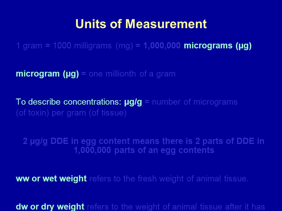 Units of Measurement 1 gram = 1000 milligrams (mg) = 1,000,000 micrograms (µg) microgram (µg) = one millionth of a gram.