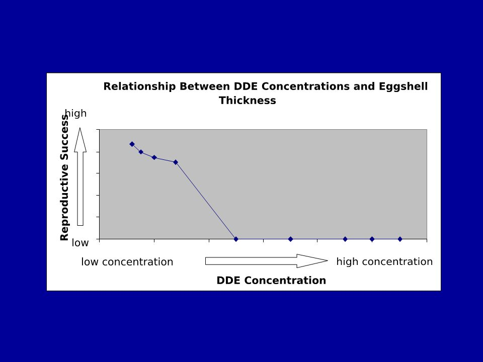 At moderate DDE concentration there is slightly lower reproductive success than at low DDE concentrations and at a certain high concentration of DDE there is total reproductive failure.