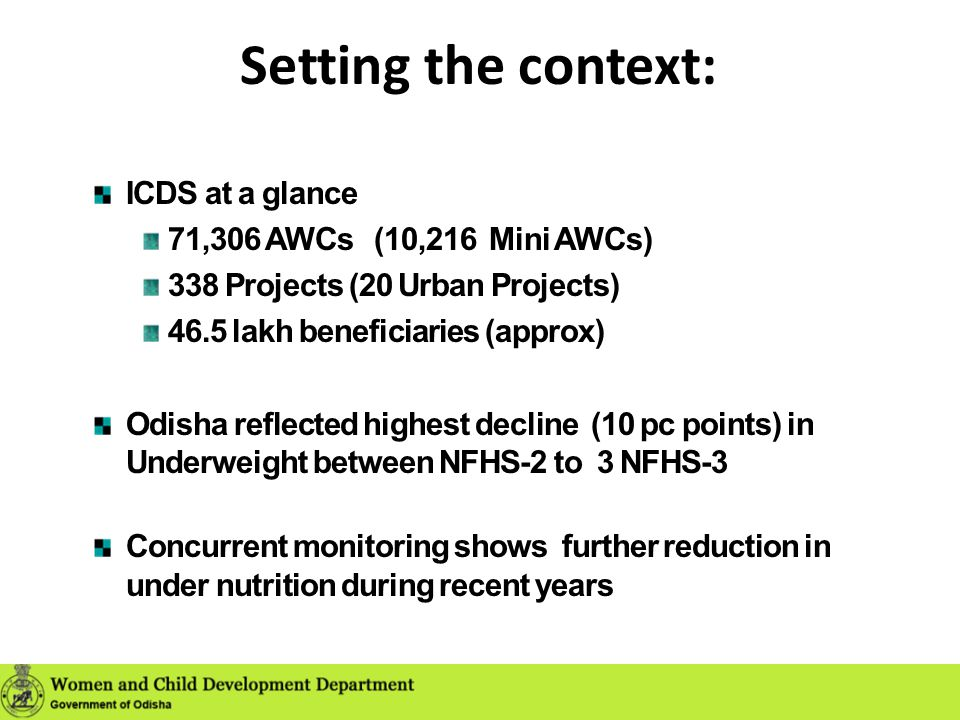 Setting the context: ICDS at a glance 71,306 AWCs (10,216 Mini AWCs)