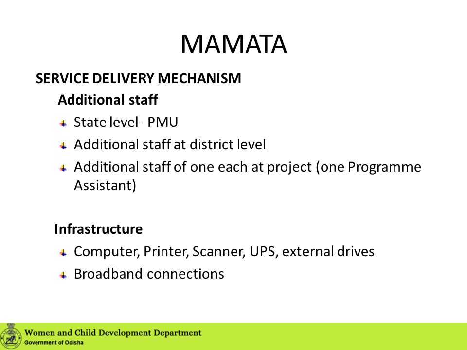 MAMATA SERVICE DELIVERY MECHANISM Additional staff State level- PMU