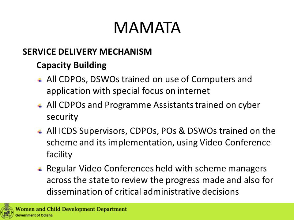MAMATA SERVICE DELIVERY MECHANISM Capacity Building