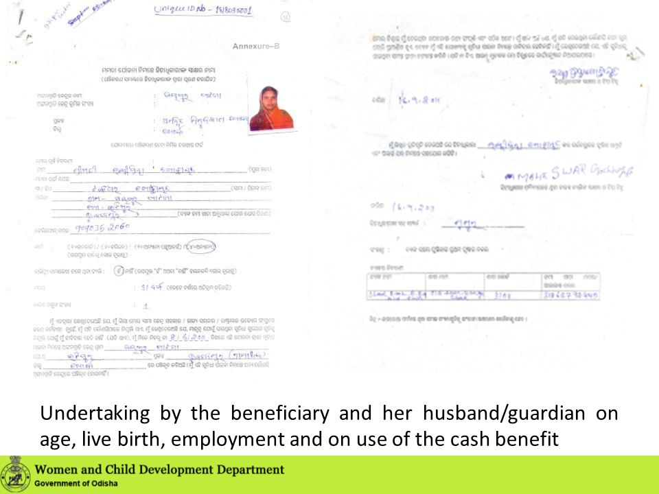 Undertaking by the beneficiary and her husband/guardian on age, live birth, employment and on use of the cash benefit
