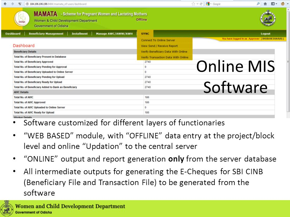 Online MIS Software Software customized for different layers of functionaries.