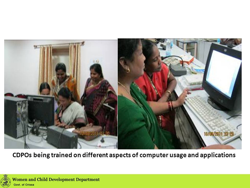 CDPOs being trained on different aspects of computer usage and applications