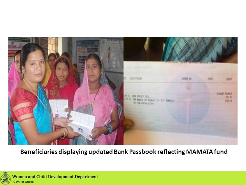 Beneficiaries displaying updated Bank Passbook reflecting MAMATA fund