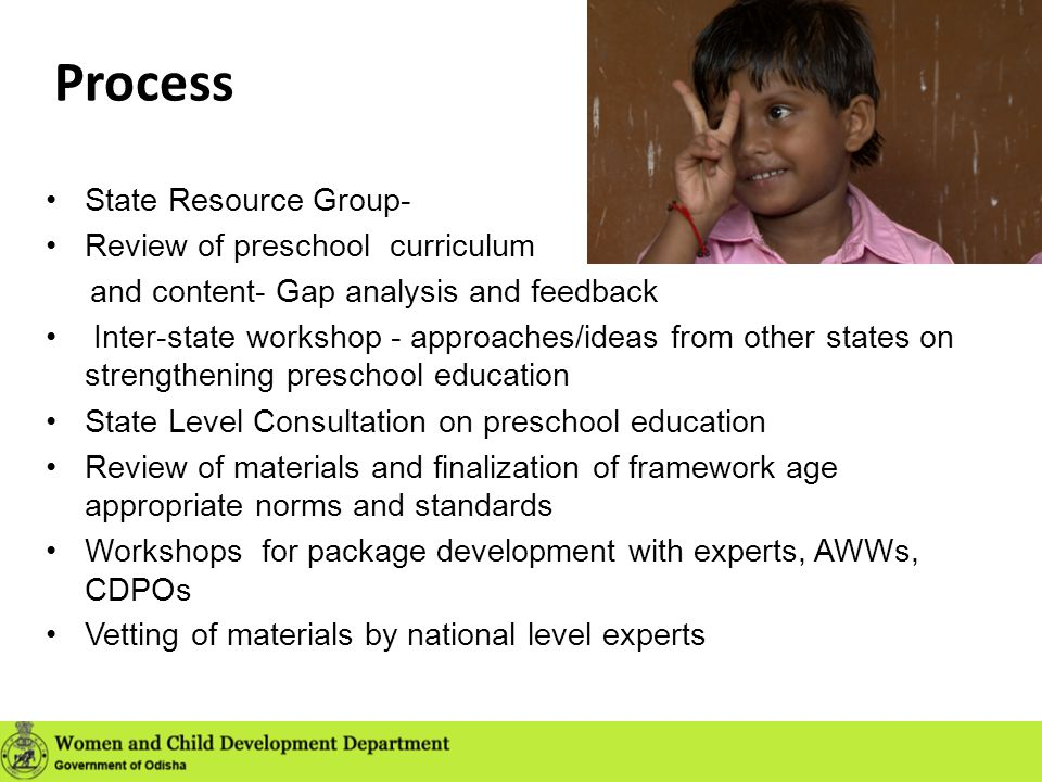 Process State Resource Group- Review of preschool curriculum