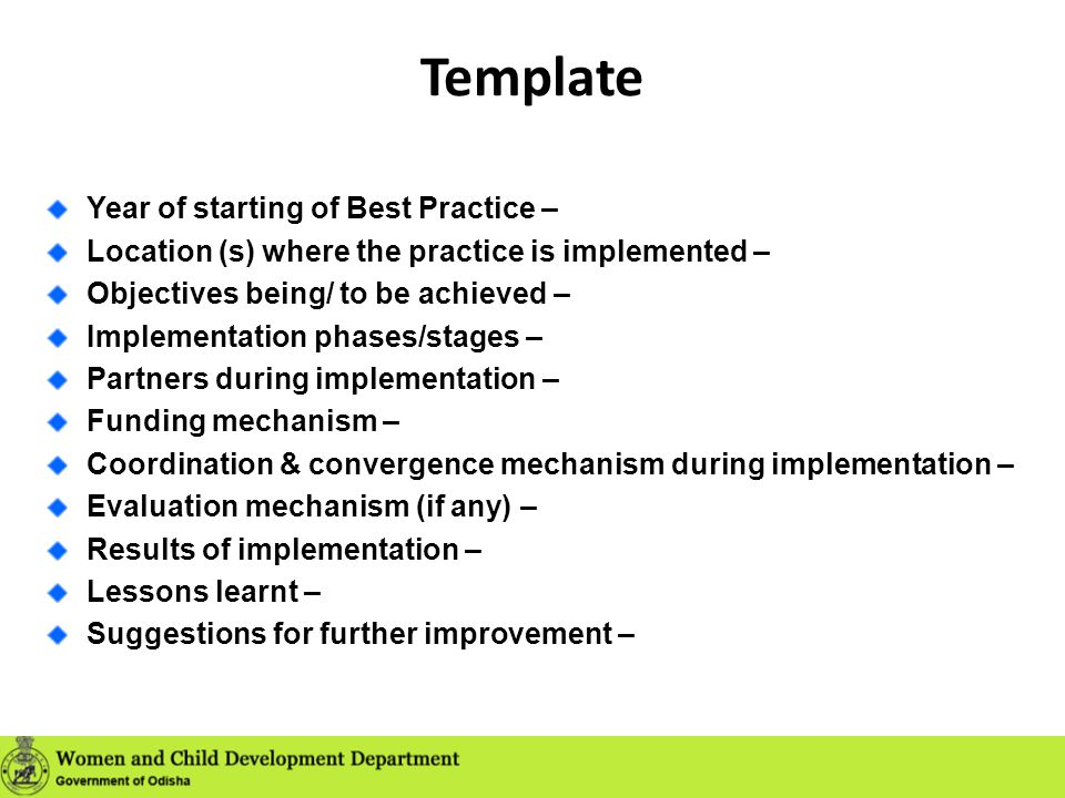 Template Year of starting of Best Practice –
