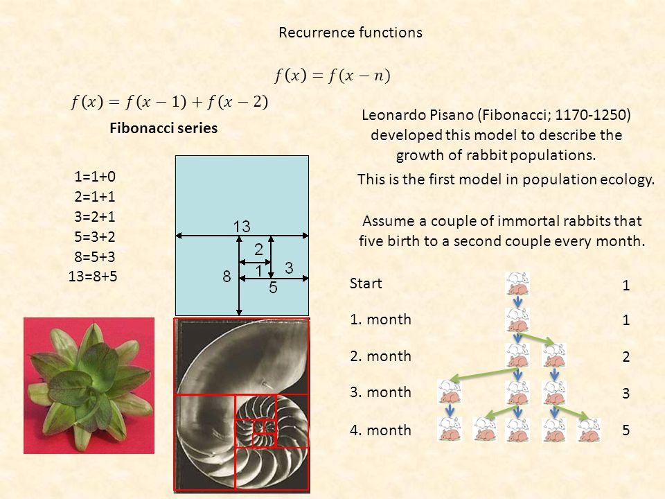 Recurrence functions 𝑓 𝑥 =𝑓(𝑥−𝑛) 𝑓 𝑥 =𝑓 𝑥−1 +𝑓 𝑥−2.
