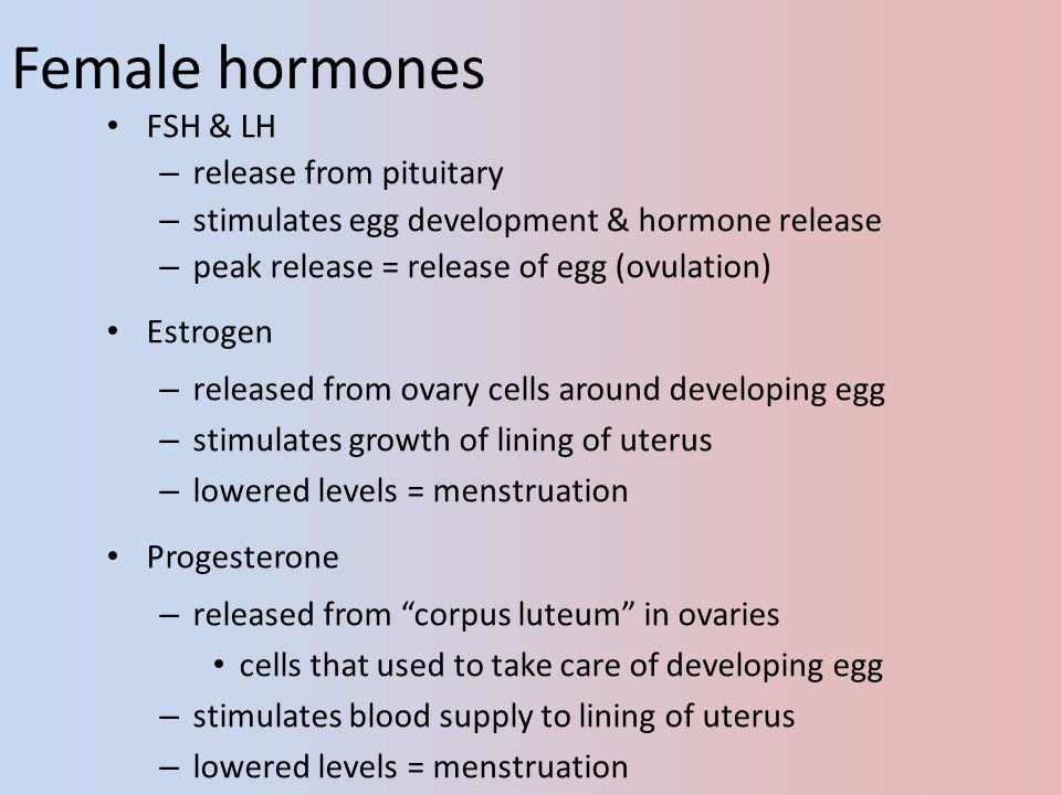Female hormones FSH & LH release from pituitary