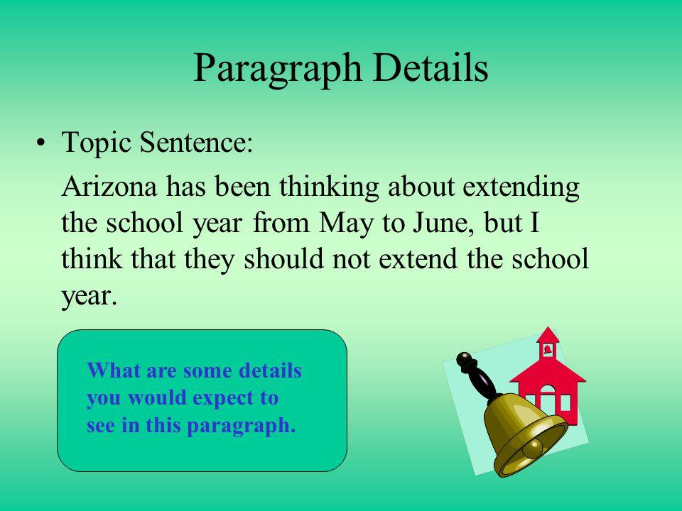 Paragraph Details Topic Sentence: