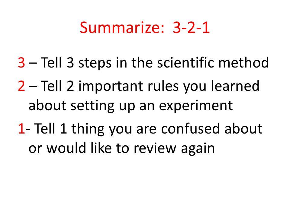 Summarize: 3-2-1
