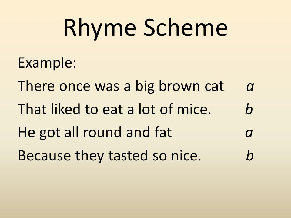 Rhyme Scheme Example: There once was a big brown cat a That liked to eat a lot of mice.