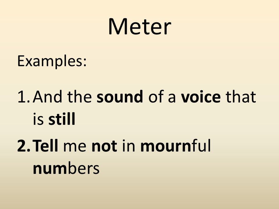Meter And the sound of a voice that is still