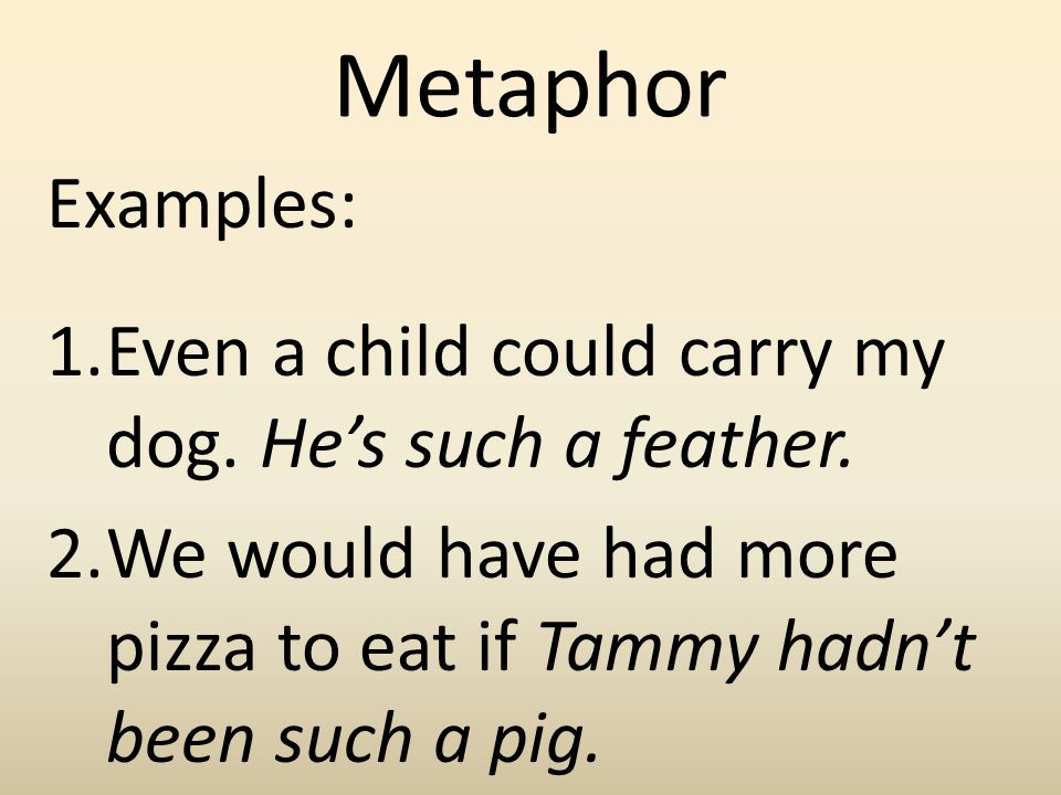 Metaphor Examples: Even a child could carry my dog.