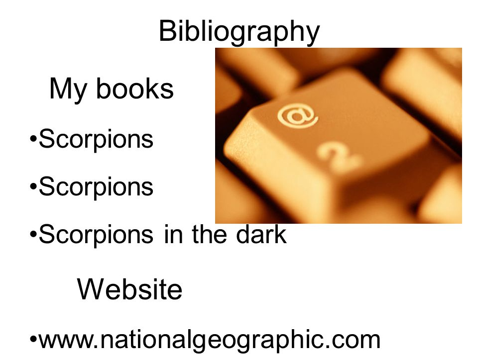 Website Bibliography My books Scorpions Scorpions in the dark