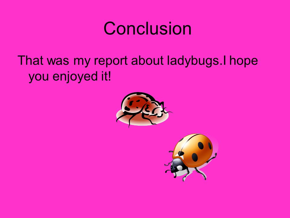 Conclusion That was my report about ladybugs.I hope you enjoyed it!