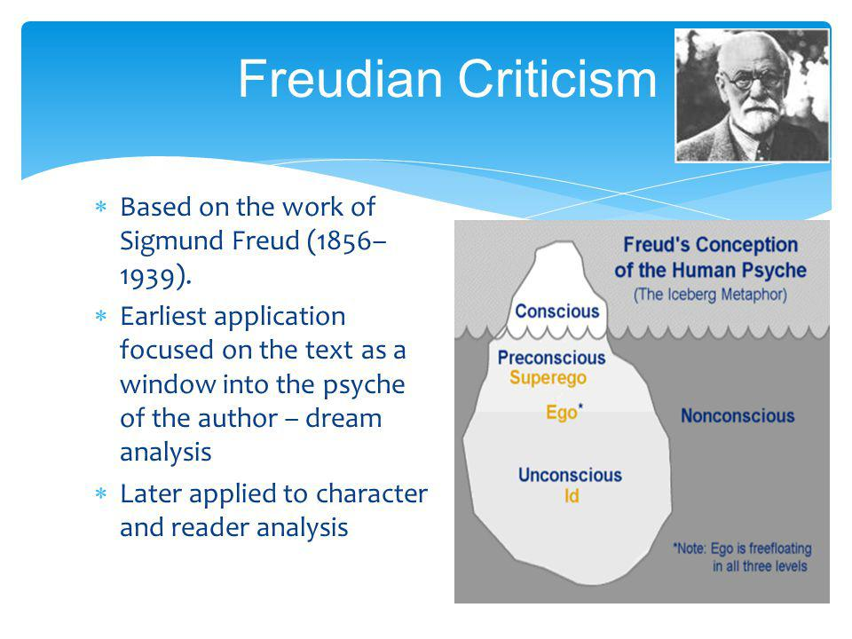 Freudian Criticism Based on the work of Sigmund Freud (1856–1939).
