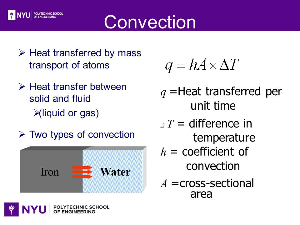 Convection h = coefficient of convection A =cross-sectional area